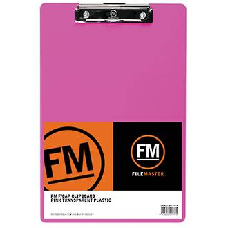 FM Clipboard Neon Pink Foolscap Transparent Plastic