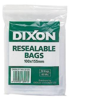 Dixon Resealable Bags 100X155mm