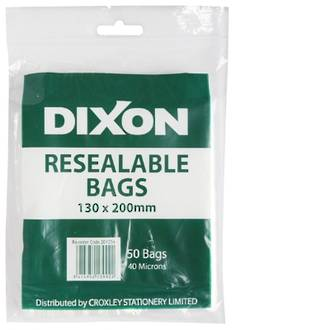 Dixon Resealable Bags 130X200mm