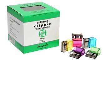 Clippie Slide Paper Clip Large Coloured Pk 50