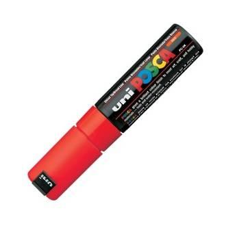 Uni Marker Posca 8mm Red Chisel Tip Bold PC-8K