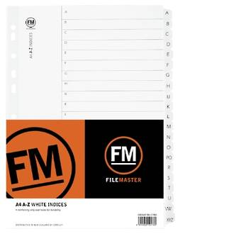 FM Indices A4 A-Z White Card