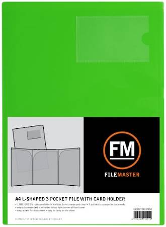 FM L Shaped 3 Pocket A4 Lime Green with Card Holder