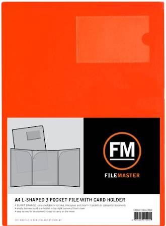 FM L Shaped 3 Pocket A4 Burnt Orange with Card Holder
