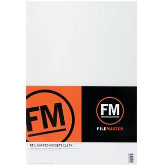 FM L Shaped Pocket A3 Clear Colours Pack 5