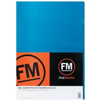 FM L Shaped Pocket A3 Assorted Colours Pack 5 - DISCONTINUED