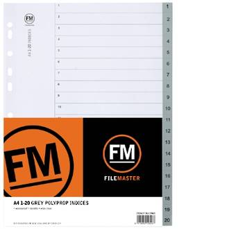 FM Indices A4 1-20 Grey Polyprop