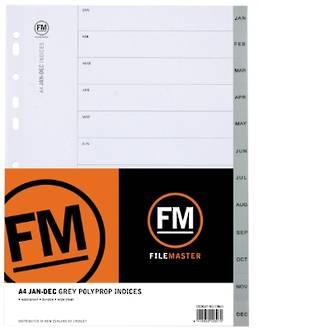 FM Indices A4 Jan-Dec Grey Polyprop