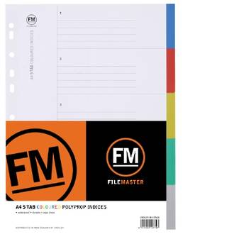 FM Indices A4 5 Tab Coloured Polyprop