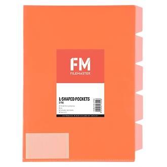 FM L Shaped Pocket 5 Tab Red