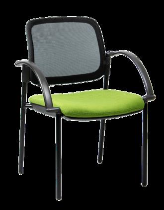 CS Venice Mesh Chair Black 4 Leg with Arms