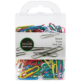 Dixon Paper Clips 31mm Round Coloured
