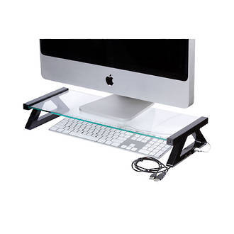 Esselte Monitor Stand Glass with 3xUSB 57cm Black Legs