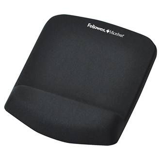 Fellowes Mouse Pad w. Wrist Rest Plush Touch Lycra Black