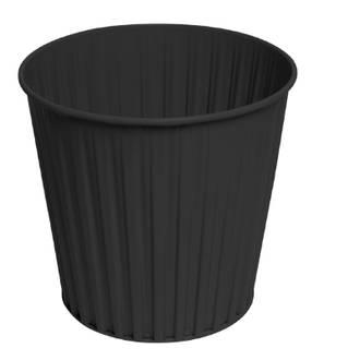 Fluteline Waste Bin Metal Black 30cm