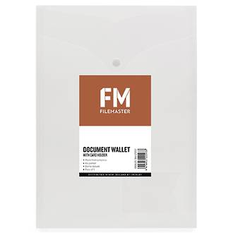 FM Document Wallet Clear Portrait A4 with Card Holder 5 pk * SPECIAL *