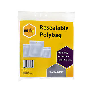Marbig Resealable Bags 155x230mm