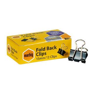 Marbig Foldback Clips 15mm Pk 12