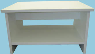 OS Coffee Table 600x800 with Shelf 25mm White Pearl