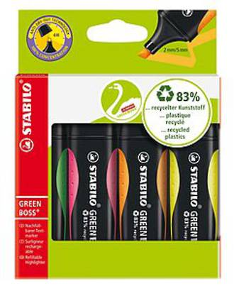 Stabilo GreenBoss Highlighter 4 Assorted * SPECIAL *