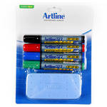 Artline 577 Whiteboard Starter Kit 4 Assorted Markers & Eraser