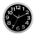 Carven Wall Clock 33cm Black Face Silver Numbers