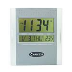 Carven Digital Clock 21cm Wide Silver