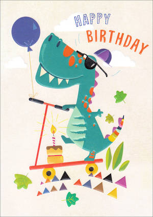 Kids Birthday Card Boy Dinosaur