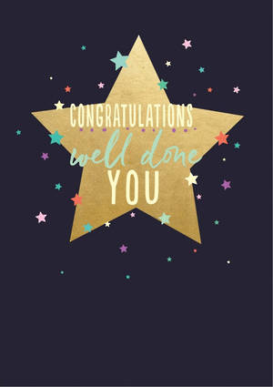 Congratulations Card Gold Star