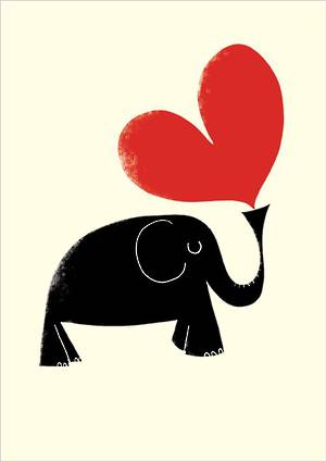 Blank Card Elephant Heart