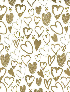 Folded Wrapping Paper Gold Hearts