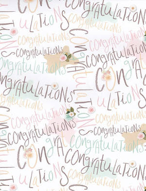 Folded Wrapping Paper Special Occassion Congratulations Pastel