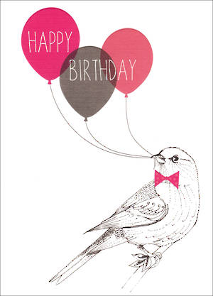 Her Birthday Card Bird Balloons