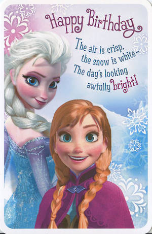 Kids Birthday Card Girl Disney Frozen Ana Elsa