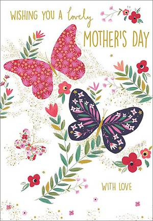 Mother's Day Card Floral Butterflies