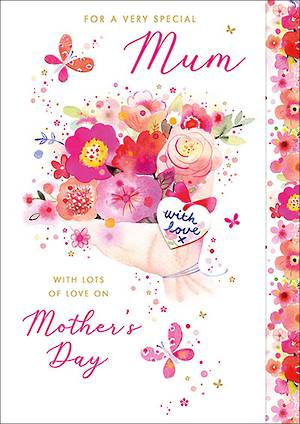 Mother's Day Card With Love Pink Bouquet