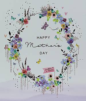 Mother's Day Card Floral Wreath