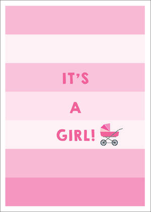 Baby Card Girl Pink Stripes