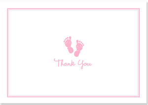 Box of 14 Notecards Baby Step Pink