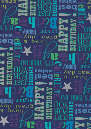 Folded Wrapping Paper Birthday Text