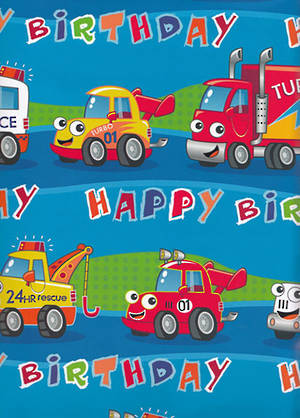 Folded Wrapping Paper Happy Trucks