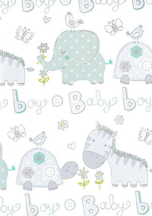Folded Wrapping Paper Baby Boy Elephants