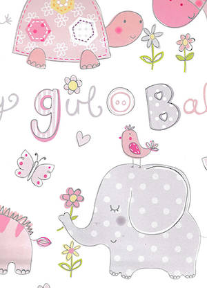 Folded Wrapping Paper Baby Girl Elephants