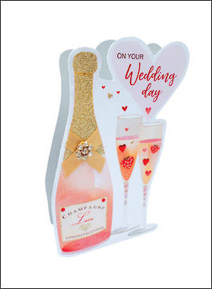 Wedding Card Paper Dazzle 3D Wedding Champagne