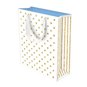 Large Gift Bag Glitter Dots White