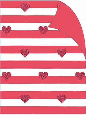 Folded Wrapping Paper Red Stripes Hearts