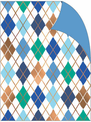 Folded Wrapping Paper Argyle Blue Green