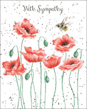 Sympathy Card Wrendale Design Poppies Bee