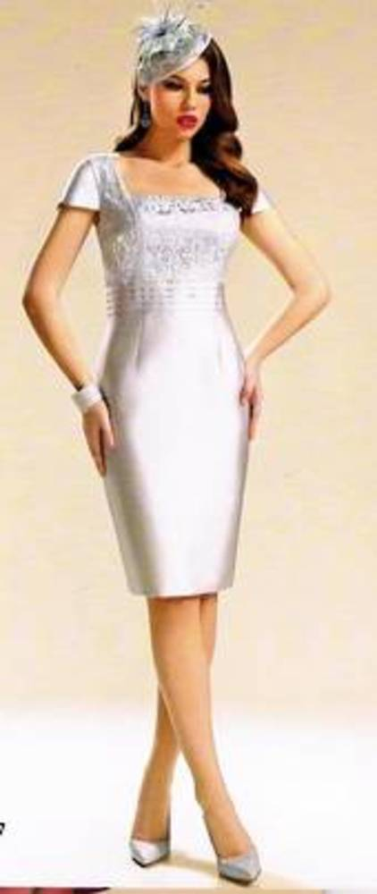 Silver dress with lace bodice and silver bolero - one only size 8/10