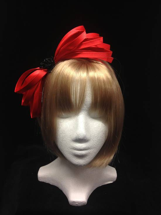 Cherry red and black fascinator - one only